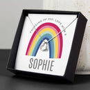 Personalised Rainbow Sentiment Silver Tone Necklace and Box