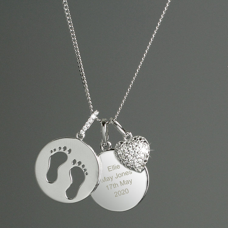 Personalised Sterling Silver Footprints and Cubic Zirconia Heart Necklace
