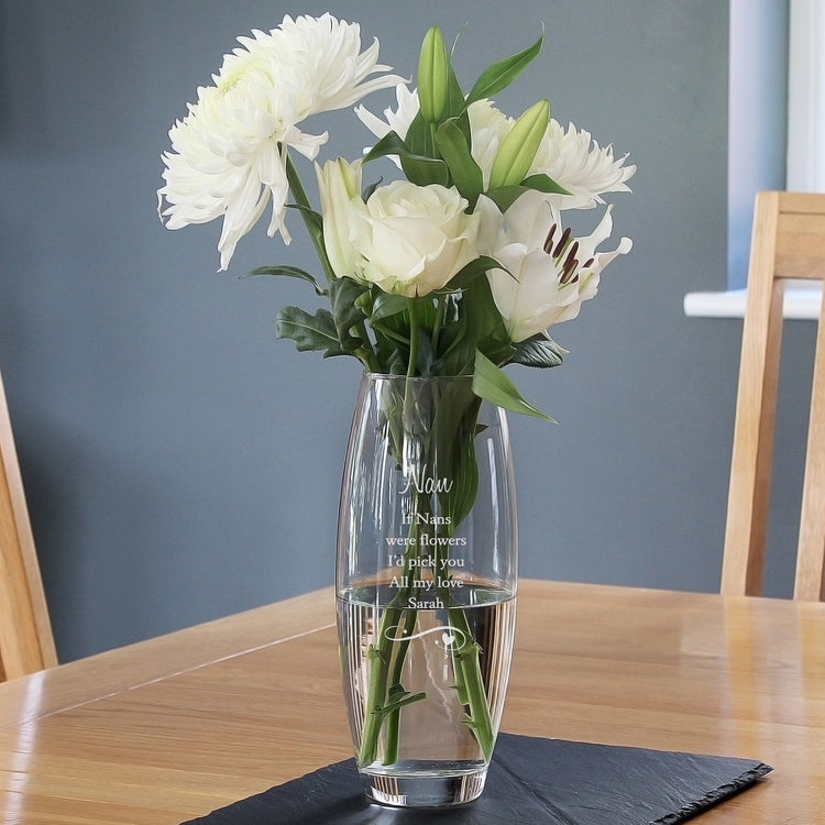 Personalised Swirls and Hearts Bullet Vase