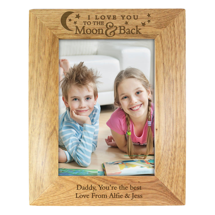 Personalised To the Moon and Back...Wooden Photo Frame