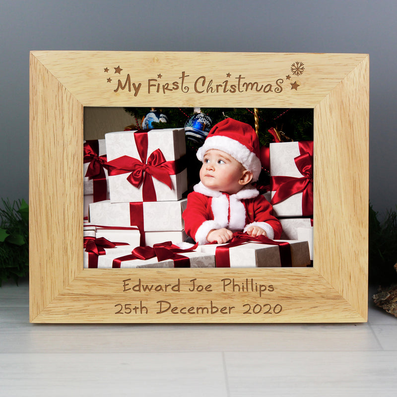 Personalised Oak Finish 'My First Christmas' Photo Frame