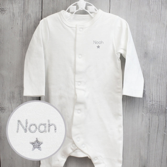 Personalised Silver Star Babygrow (0-3 months)
