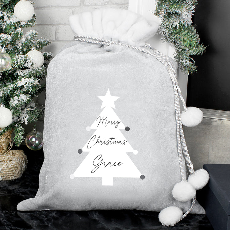 Personalised Christmas Tree Luxury Silver Grey Pom Pom Sack