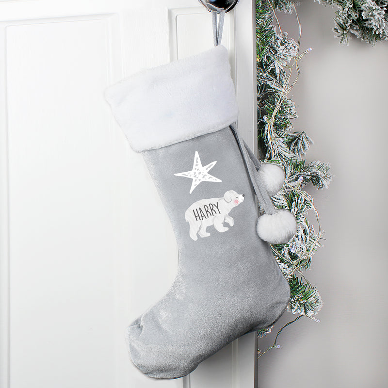 Personalised Baby Polar Bear Luxury Silver Grey Stocking