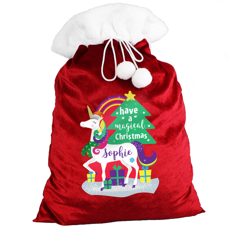 Personalised Christmas Unicorn Red Sack