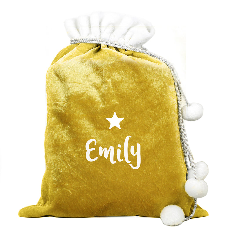 Personalised Name Gold Luxury Pom Pom Sack