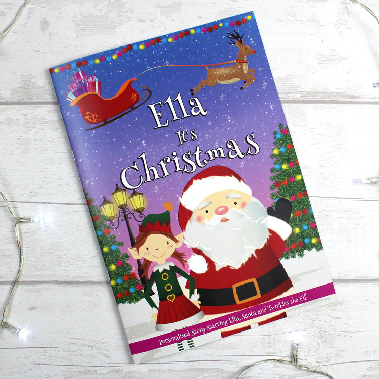 "Personalised ""It's Christmas"" Story Book, Featuring Santa and his Elf Twinkles"