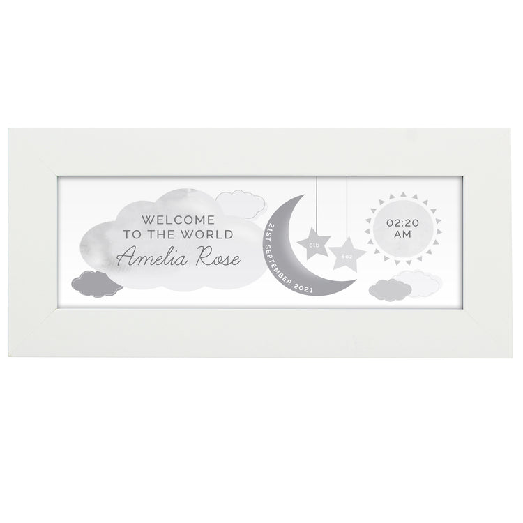 Personalised New Baby Moon & Stars White Framed Nursery Print