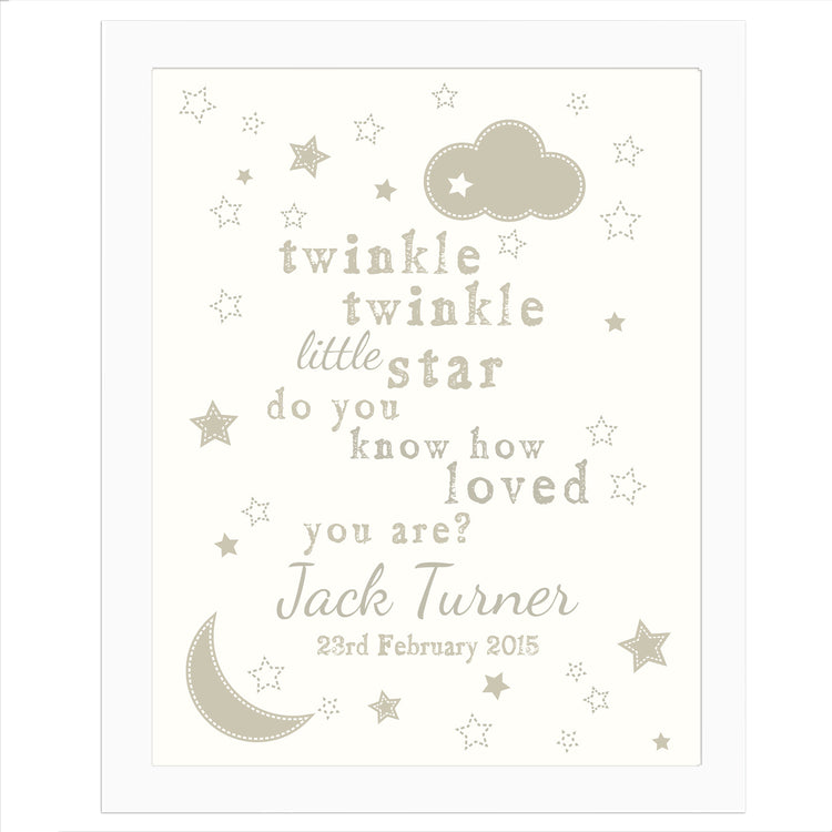 Personalised Twinkle Twinkle White Framed Nursery Print