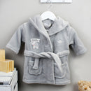 Personalised Elephant Grey Hooded Baby Dressing Gown (0-6 months)