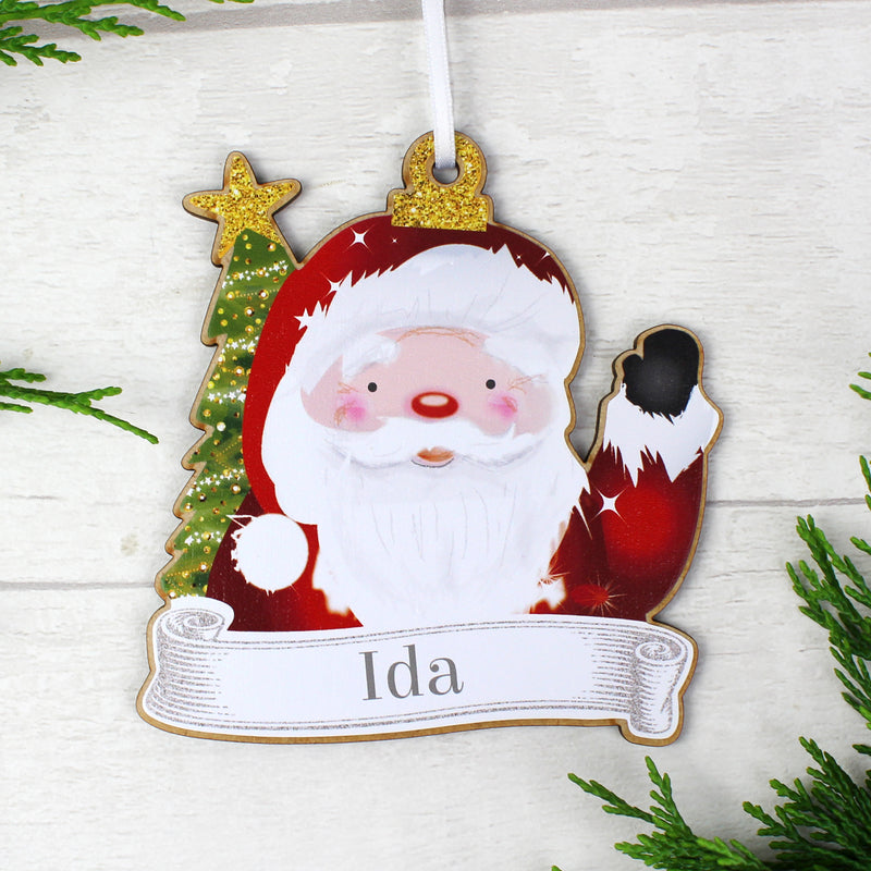 Personalised Set of 4 Christmas Wooden Hanging Decorations
