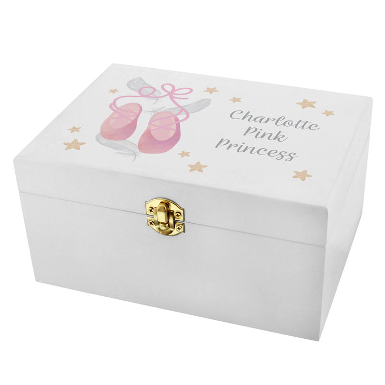 Personalised Swan Lake Ballet White Wooden Keepsake Box