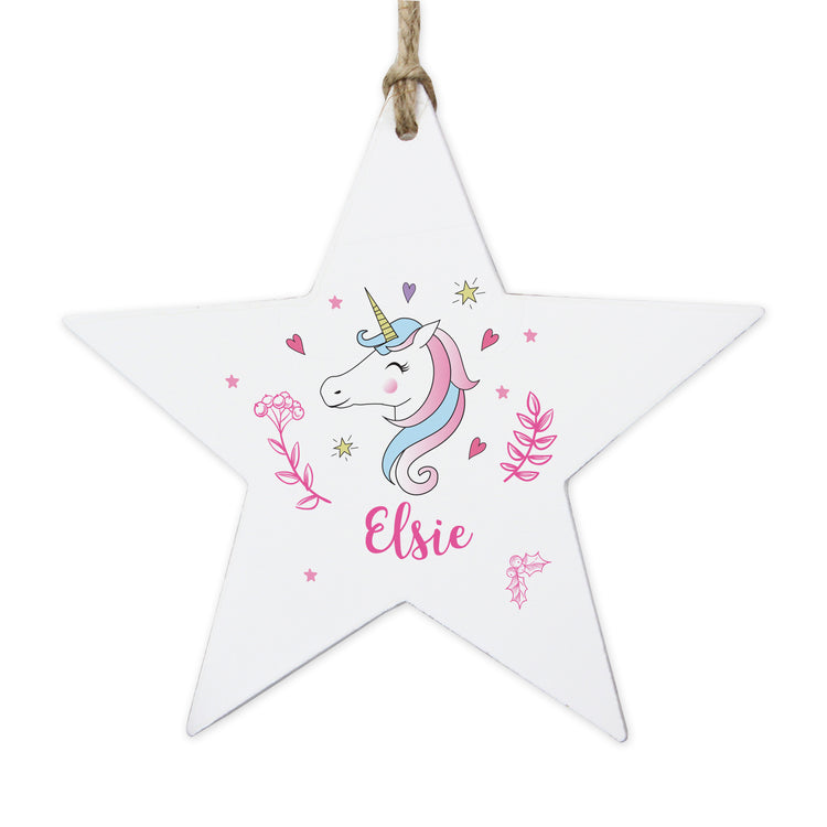 Personalised Unicorn Wooden Star Decoration