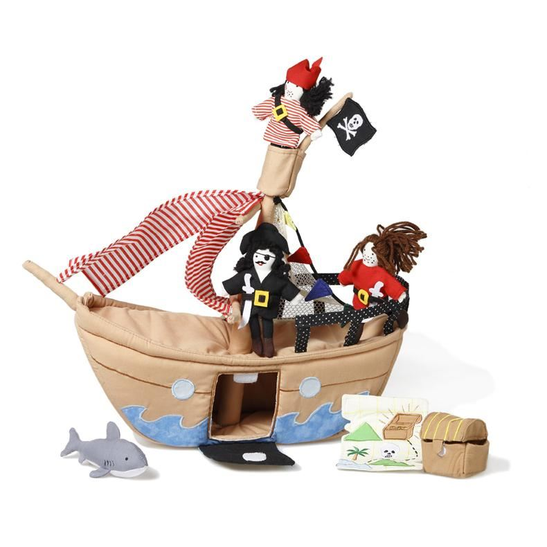 Oskar & Ellen Fabric Jolly Roger Pirate Ship
