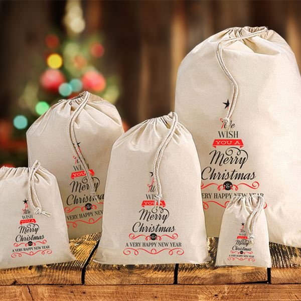 Christmas Tree Words - Medium Cotton Christmas Sack - I Want That Present