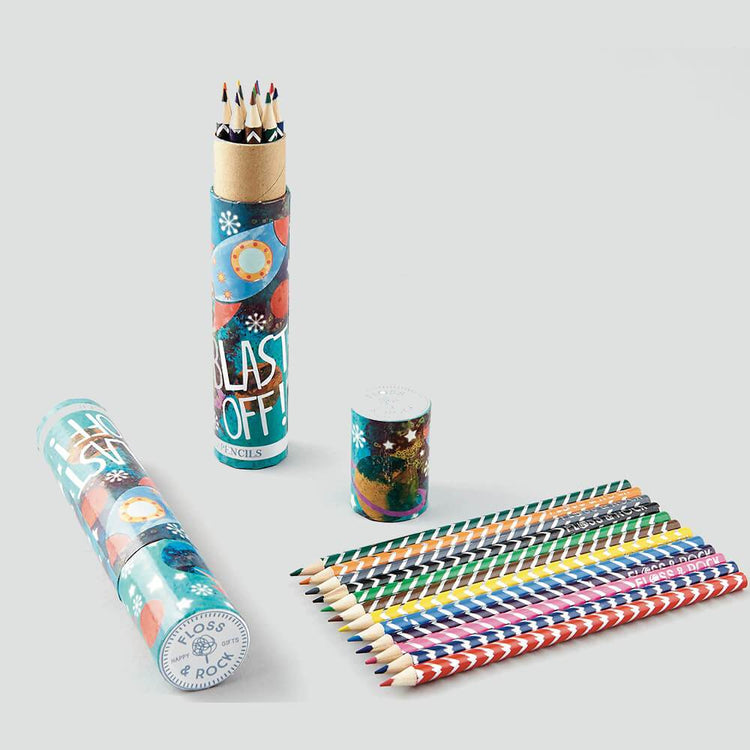 Arts & Crafts - Rocket Tube Of Pencils By Floss & Rock