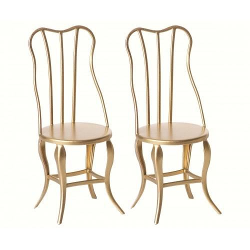 Maileg Two Micro Gold Vintage Chairs