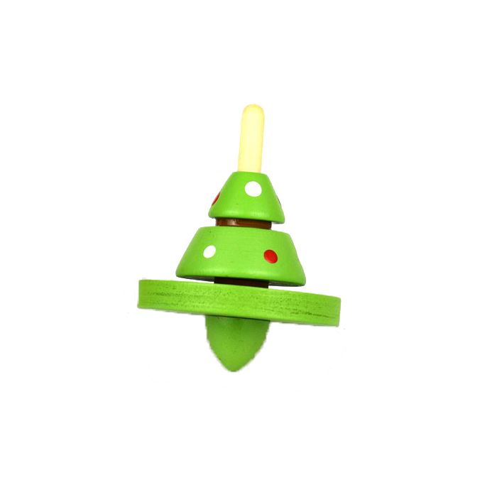 Wooden Retro Christmas Tree Spinning Top - I Want That Present