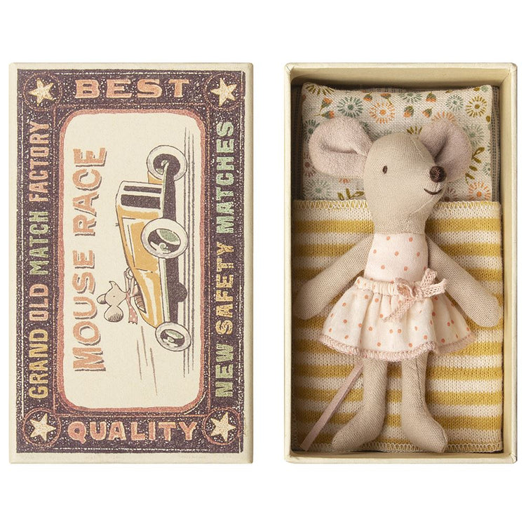 Maileg Little Sister Matchbox Mouse - Pink Spot Dress