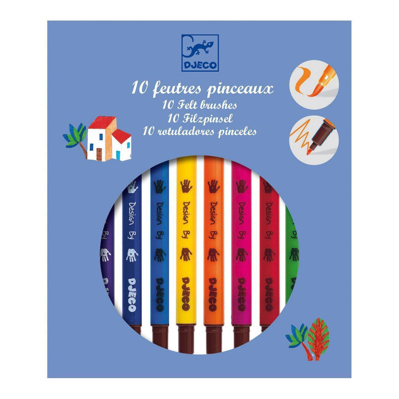 Djeco 10 Double-ended Felt Brushes - Classic Colours - I Want That Present