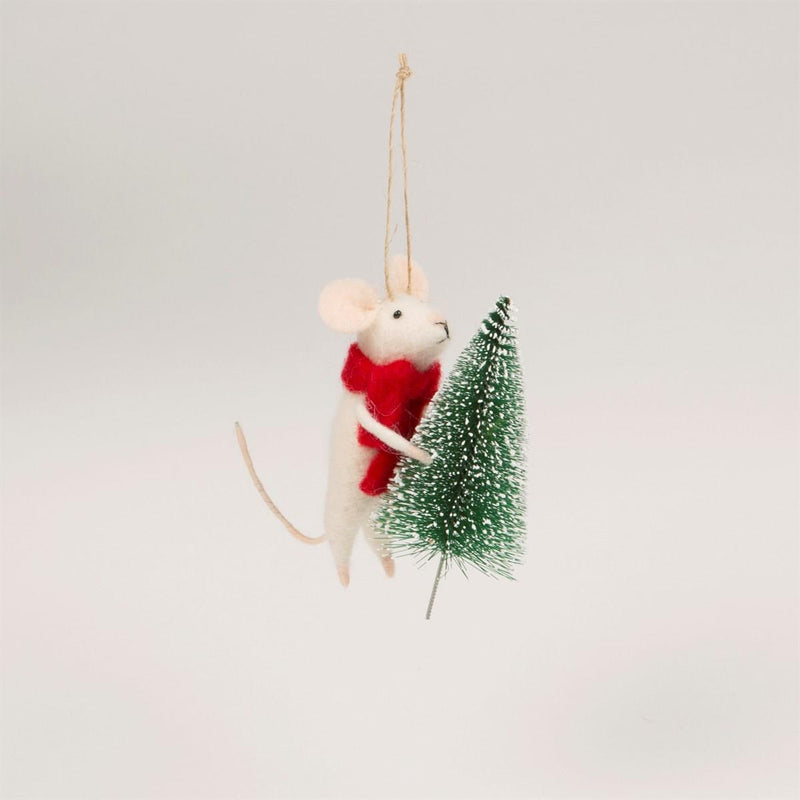 Felt Mouse with Christmas Tree Felt Decoration