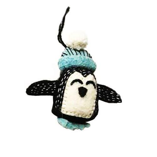 Fiona Walker - Felt Penguin Hanging Decoration with Bobble Hat