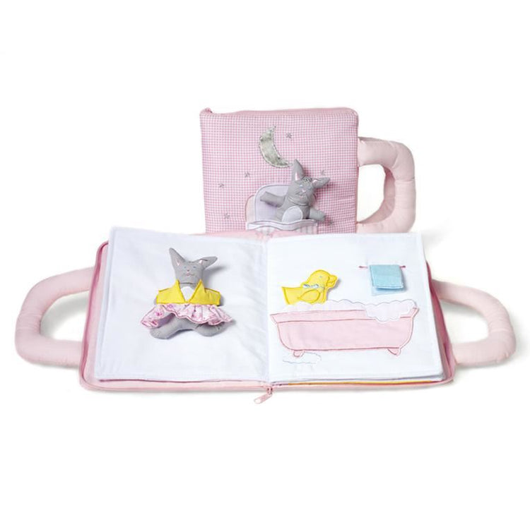 Oskar & Ellen Pink Fabric Goodnight Bunny book