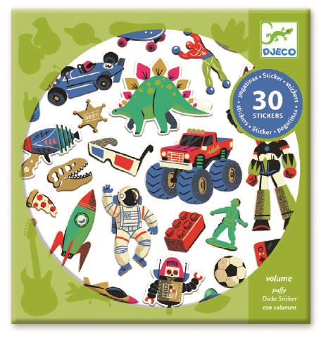 Djeco Retro Toys Textured Puffy Stickers