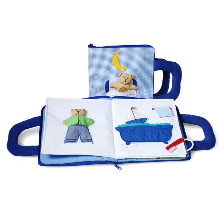 Oskar & Ellen Blue Fabric Goodnight Teddy book