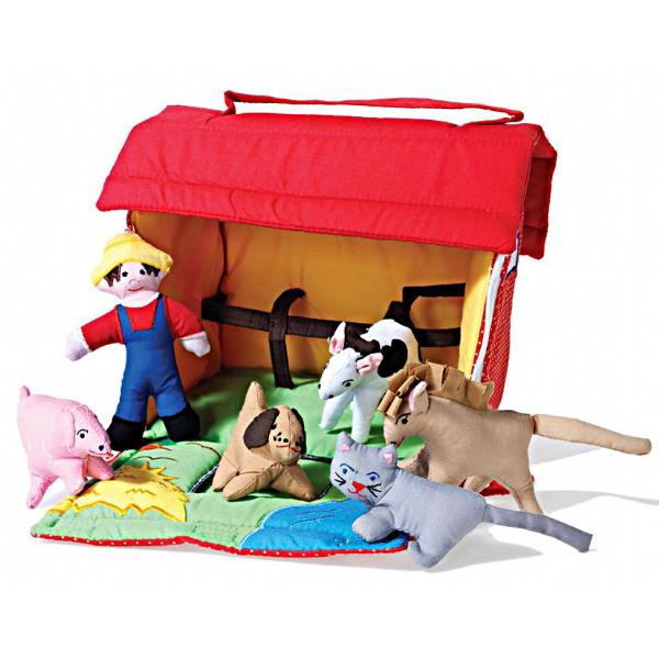 Farms - Oskar & Ellen Red Fabric Farmyard Playset