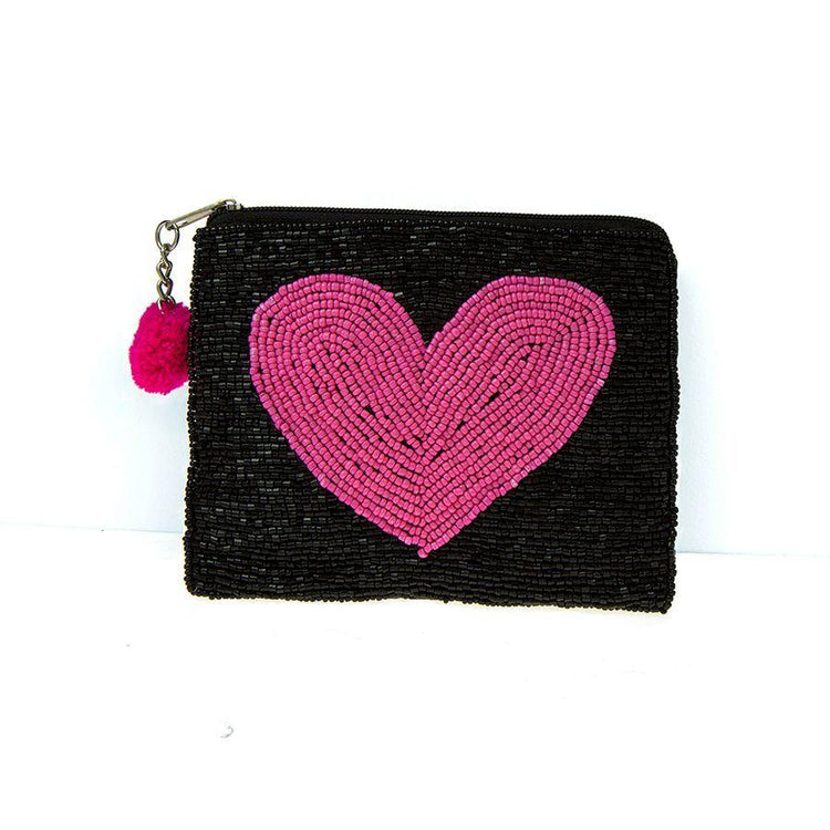Gifts For Her - Black Beaded Purse With Vibrant Pink Heart