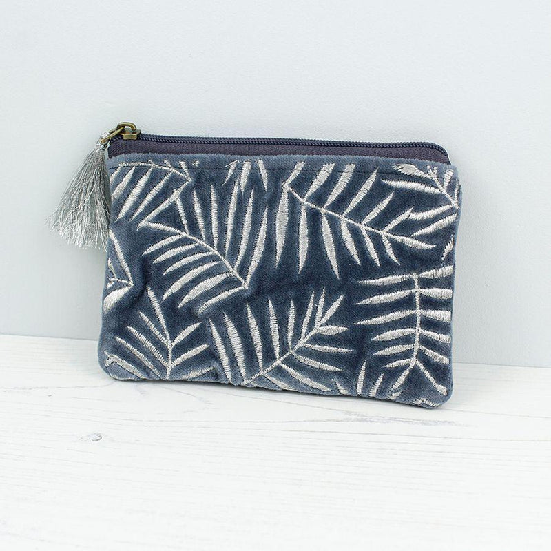 Blue Velvet Silver Leaf Tassel Purse