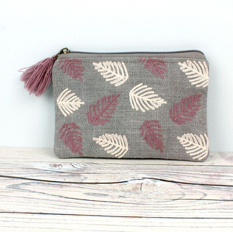Gifts For Her - Grey Canvas Ivory/Rose Leaf Zip Purse