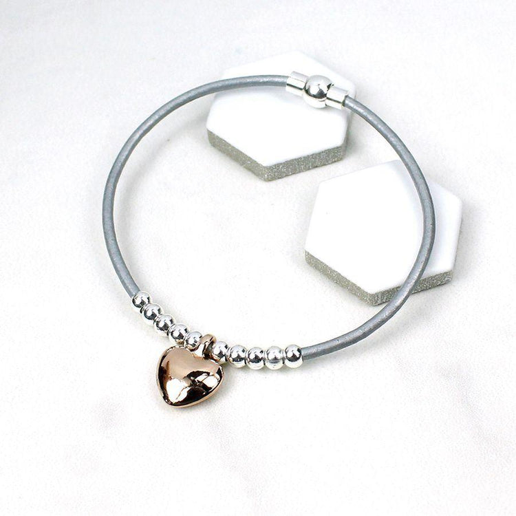 Gifts For Her - Grey Leather Silver Bead Rose Gold Heart Bracelet