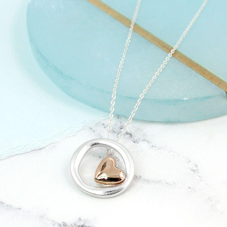 Gifts For Her - Matt Silver Circle Rose Gold Heart Necklace