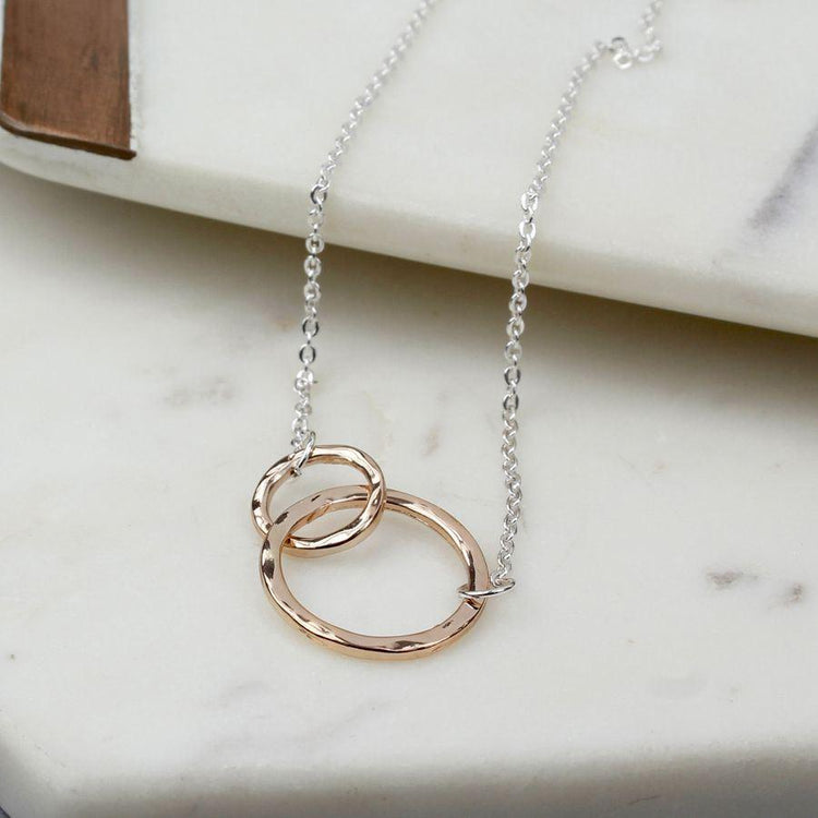 Gifts For Her - Rose Gold Linked Circles Necklace