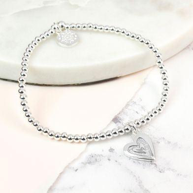 Gifts For Her - Silver Plated Grey Enamel Heart Inset Bracelet