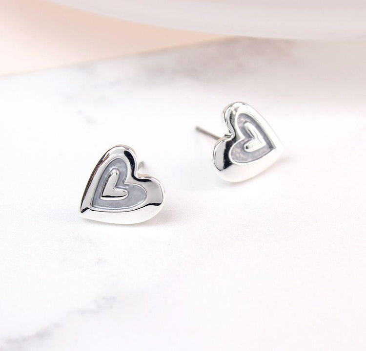 Gifts For Her - Silver Plated Grey Enamel Heart Inset Earrings