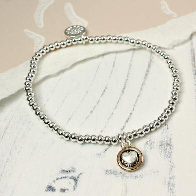 Gifts For Her - Silver Plated Heart In Rose Gold Circle Bracelet