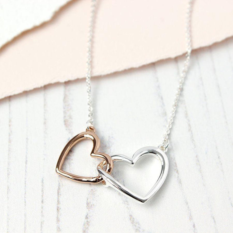 Gifts For Her - Silver Rose Gold Linked Hearts Necklace