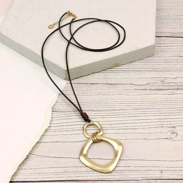 Gifts For Her - Worn Gold Square Hoops Brown Cord Necklace