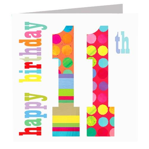 Greeting Cards - Happy 11th Birthday Card