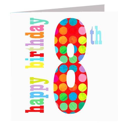 Greeting Cards - Happy 8th Birthday Card
