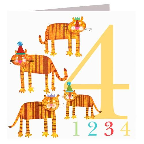 Greeting Cards - Happy Birthday Card - Four - Tigers