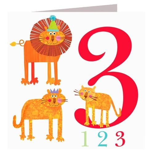 Greeting Cards - Happy Birthday Card - Three - Lions