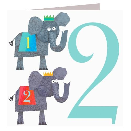 Greeting Cards - Happy Birthday Card - Two - Elephants