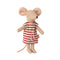 Maileg Big Sister Matchbox Mouse - Red Striped Dress