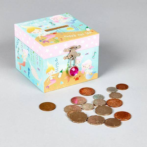 Mermaid Money Box with Jewel Lock