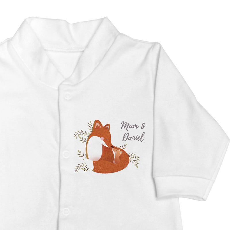 Personalised Mummy and Me Fox Long Sleeved Baby Vest