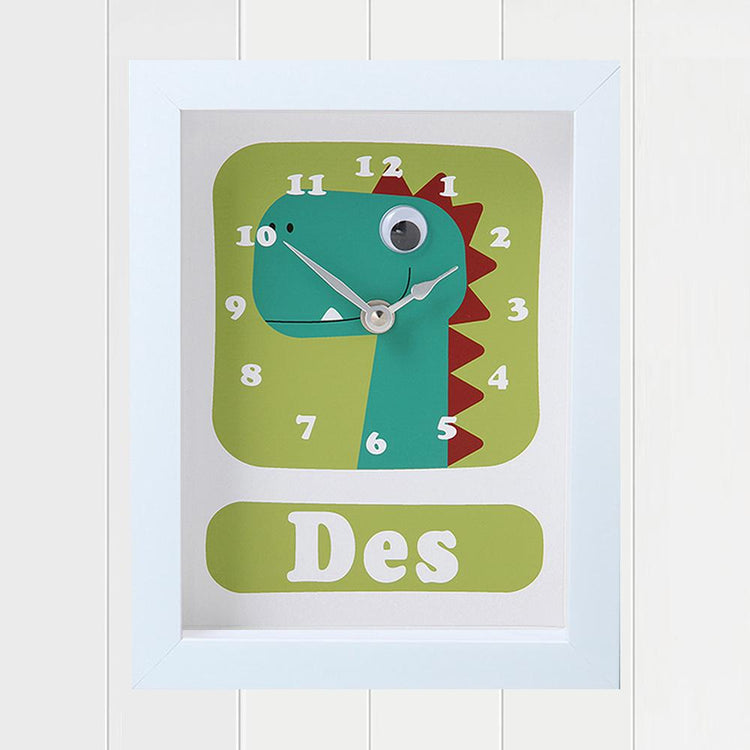 Personalised - Clocks - Dino Des Dinosaur Personalised Clock